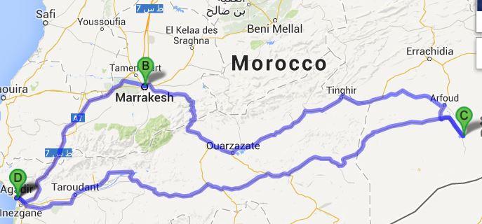 Google Map AgadirMerzougaAgadir TWIKE MAROC
