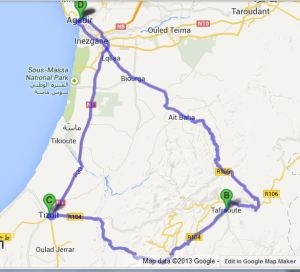 Agadir - Tafraout - Agadir: 380km