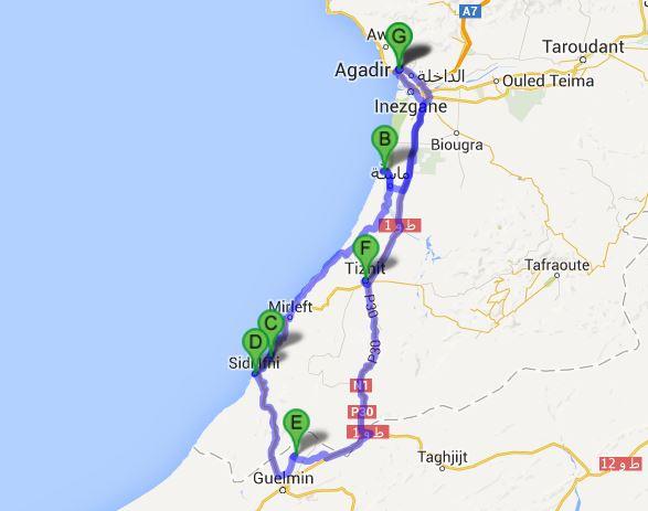 Agadir-Sidi Wassay-Legzira-Abaynou-Guelmim-Tiznit-Agadir: 450km