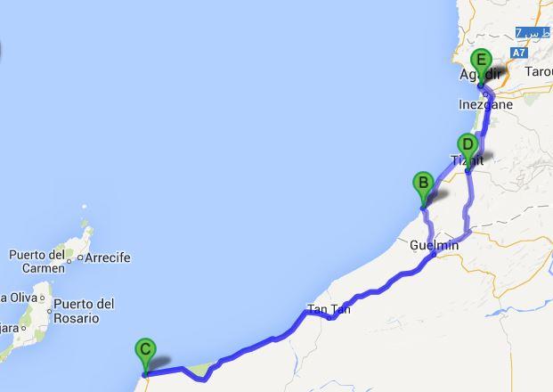 Agadir-Tarfaya-Agadir 1150km